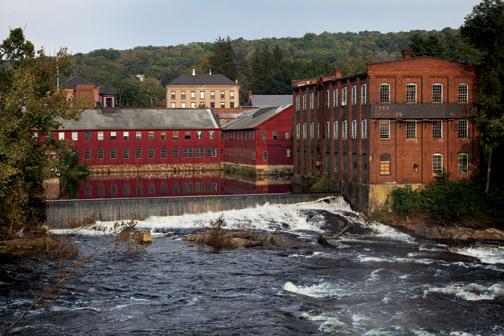 A mill complex on the Farmington River in Collinsville, Connecticut.